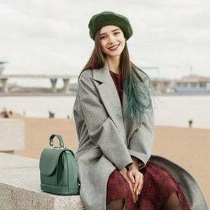 Vtg 90s green beret hat wool women's